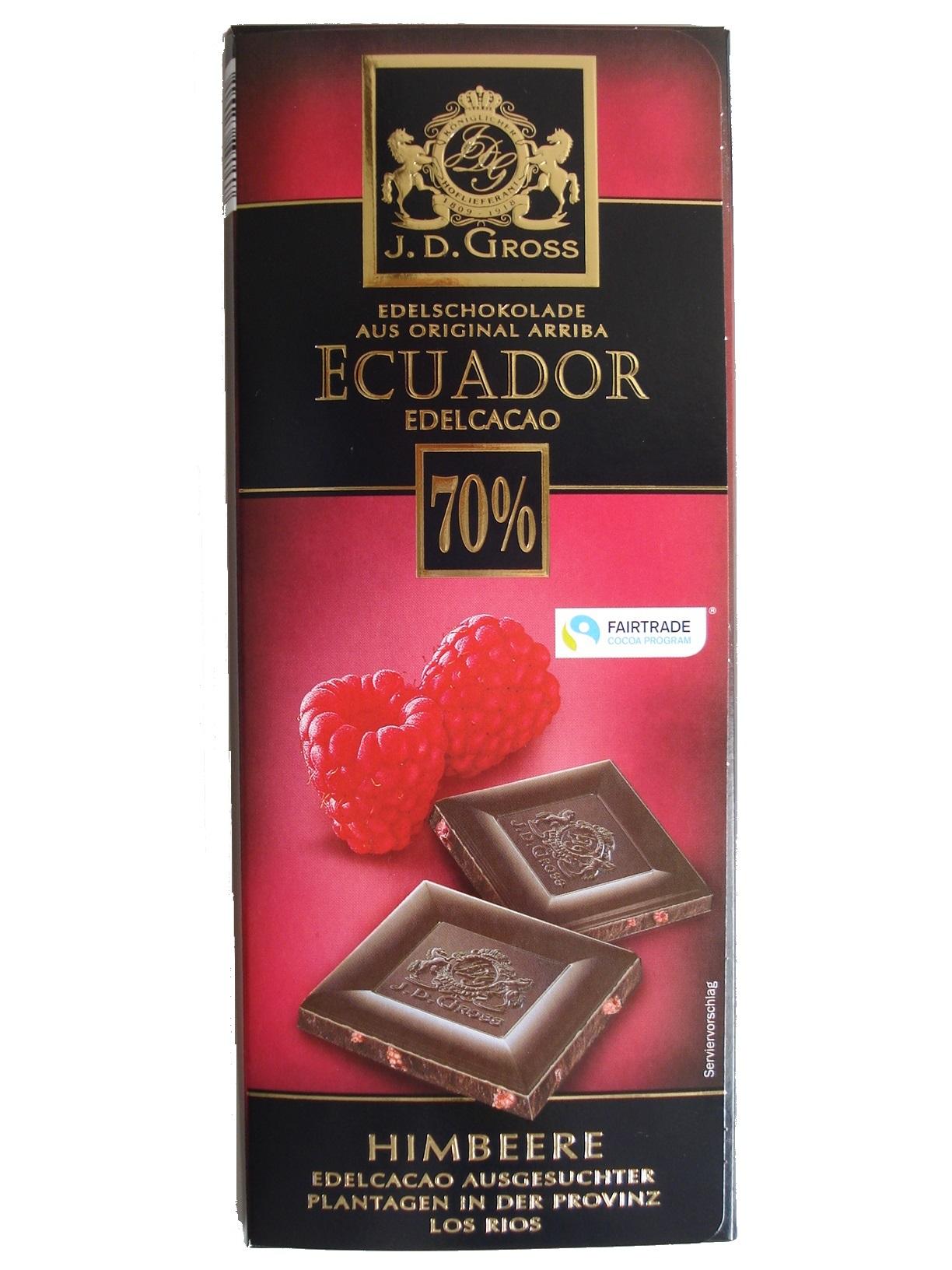 Edel-Schokolade Ecuador 70% Himbeer