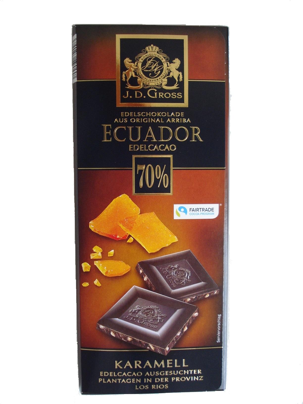 Edel-Schokolade Ecuador 70% Karamell