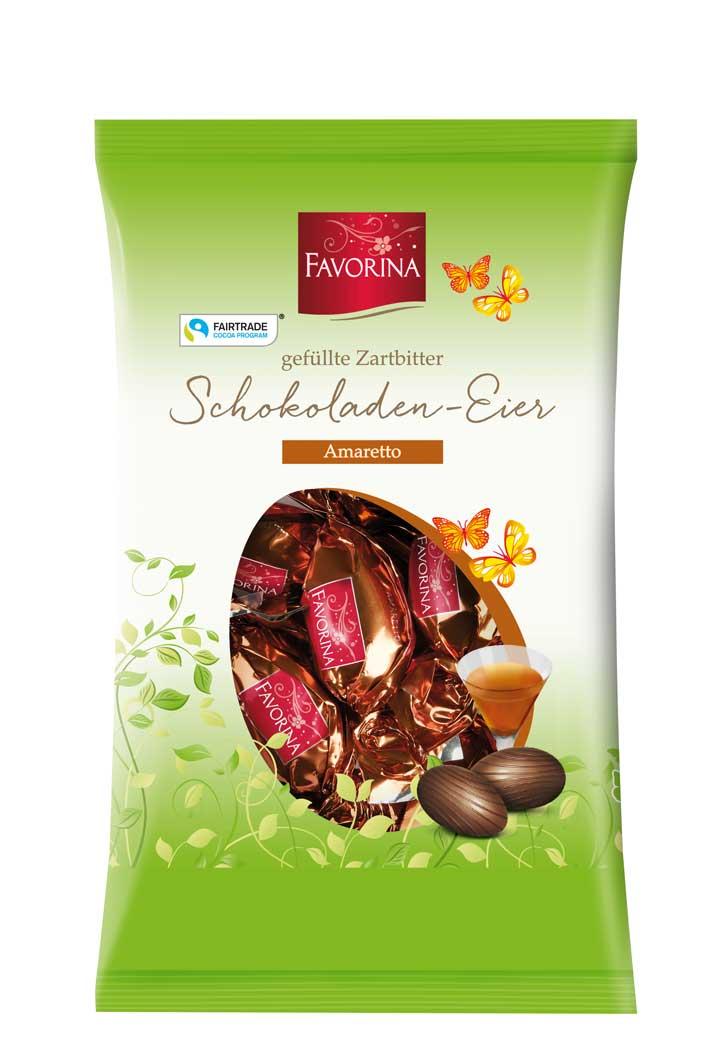 Zartbitter Schokoladen- Eier, Amaretto