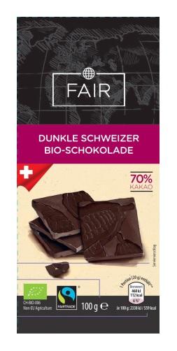 Dunkle Schweizer Bio- Schokolade