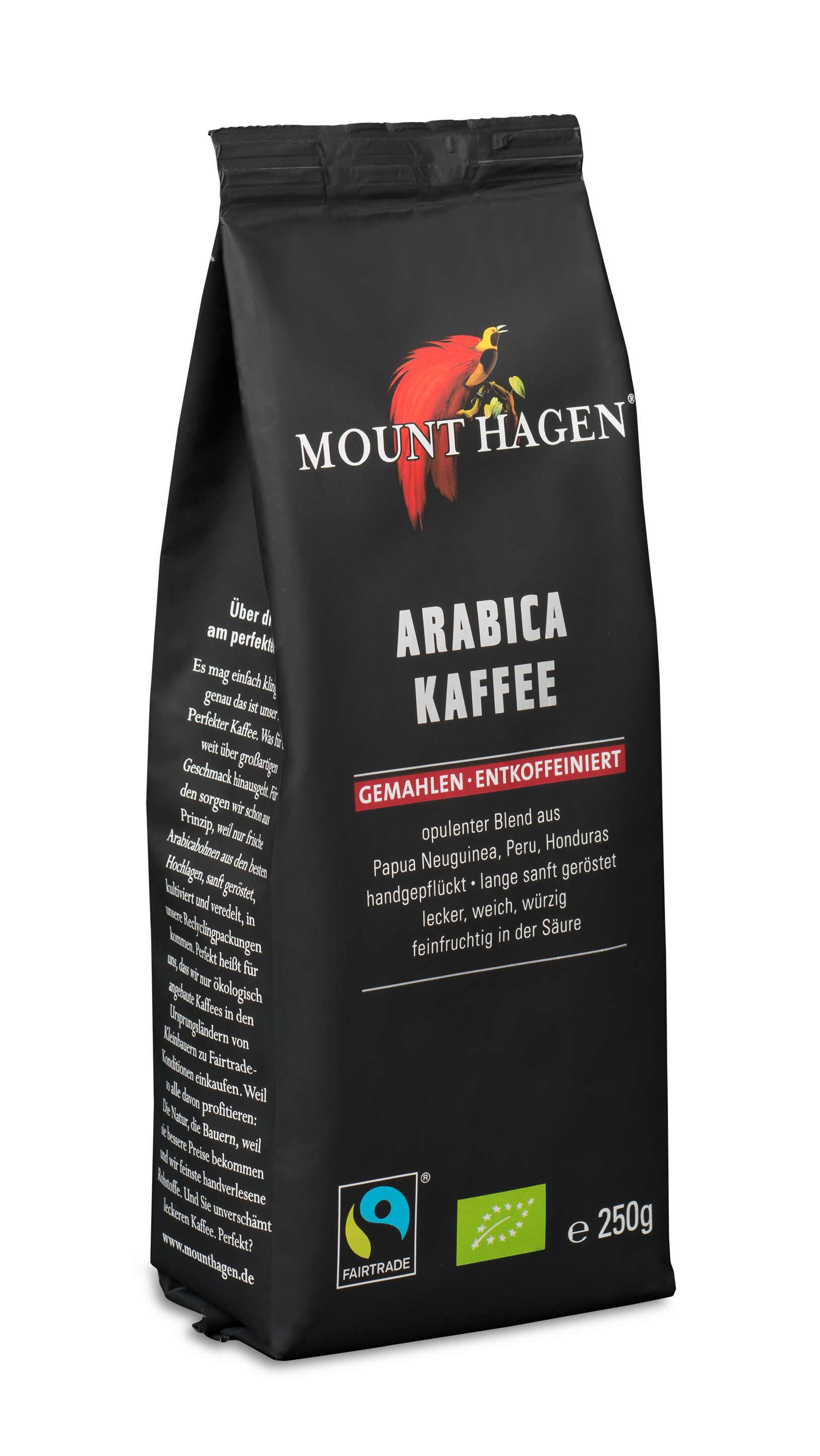 Arabica Kaffee, gemahlen und entkoffeiniert