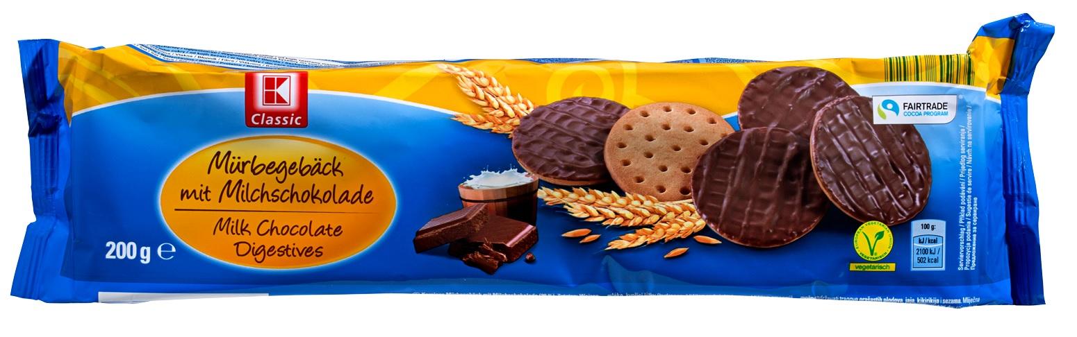 Mürbeteiggebäck mit Milchschokolade