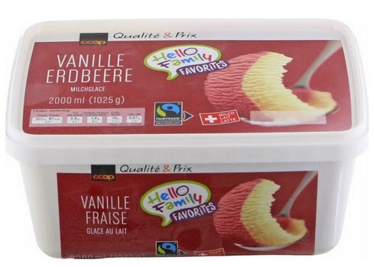 Milcheis Vanille-Erdbeere