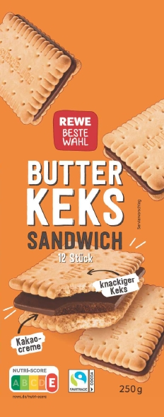 Art.-Nr. 312255 REWE Sandwich Buttercookies Kakaocreme 14x250g