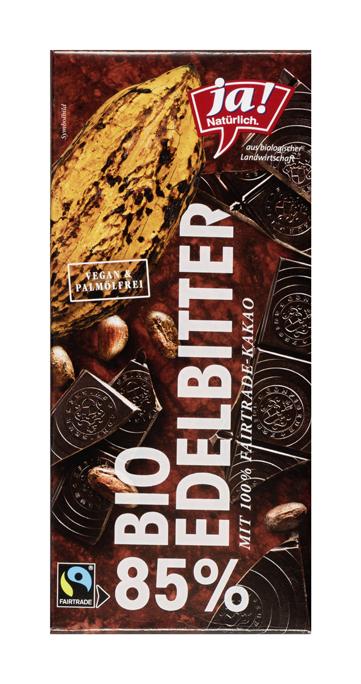 Bio Edel-Bitterschokolade mit 85 Prozent Kakaoanteil