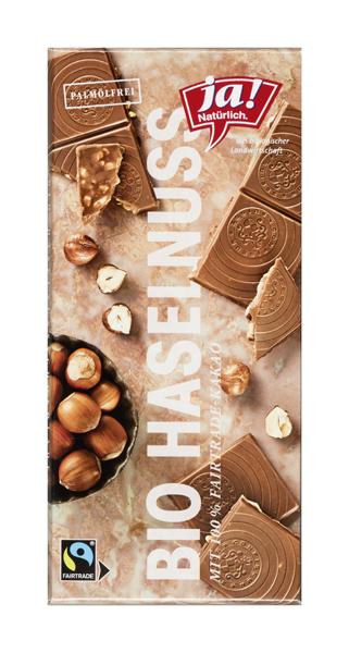 Bio Edelvollmilchschokolade mit Haselnussstückchen