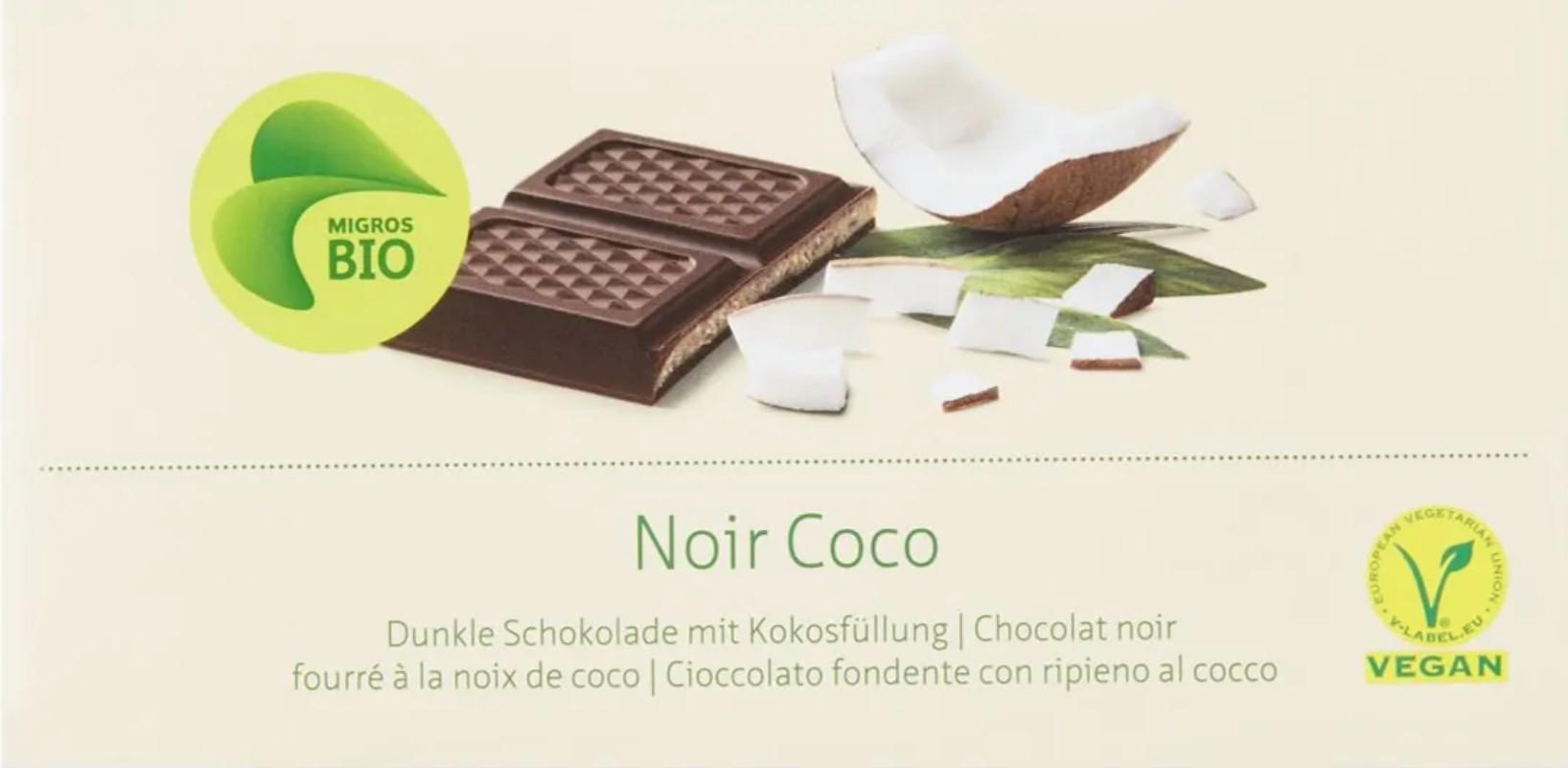 Dunkle Schokolade mit Kokosfüllung