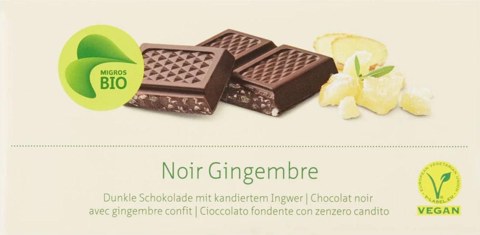 Dunkle Schokolade mit kandiertem Ingwer