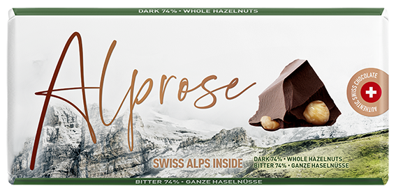 Alprose Dark tablet with hazelnuts