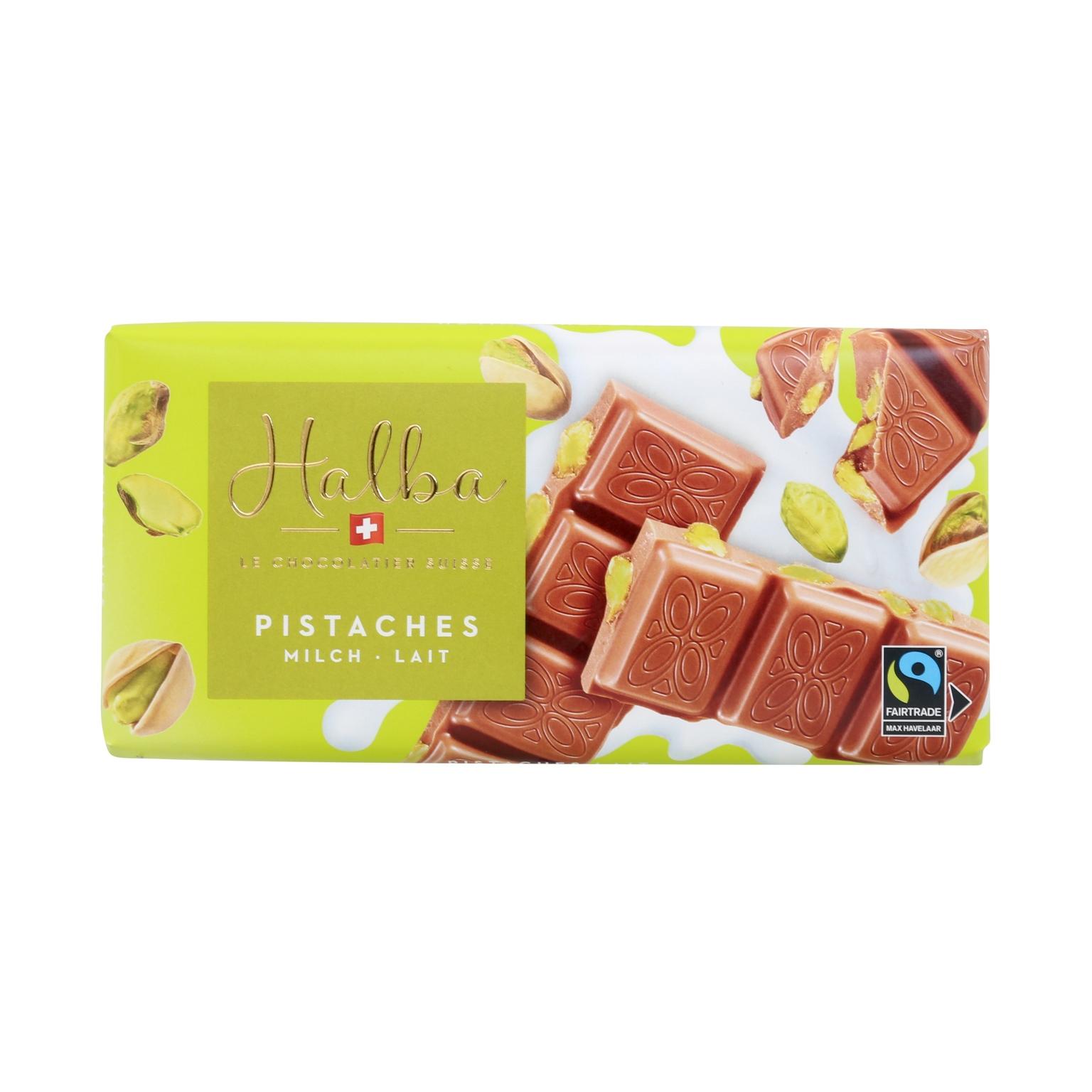Schweizer Milchschokolade mit karamellisierten, gesalzenen Pistazien