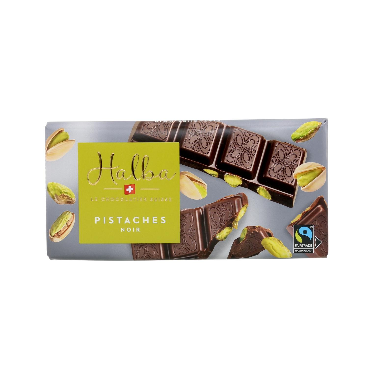 Schweizer Dunkle Schokolade mit karamellisierten, gesalzenen Pistazien