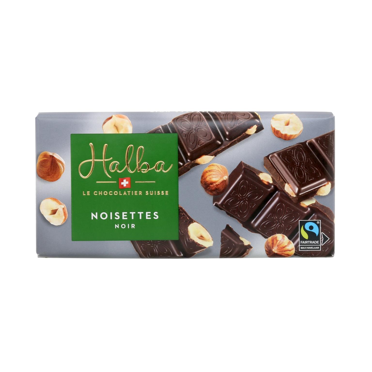 Schweizer Dunkle Schokolade mit ganzen Haselnüssen