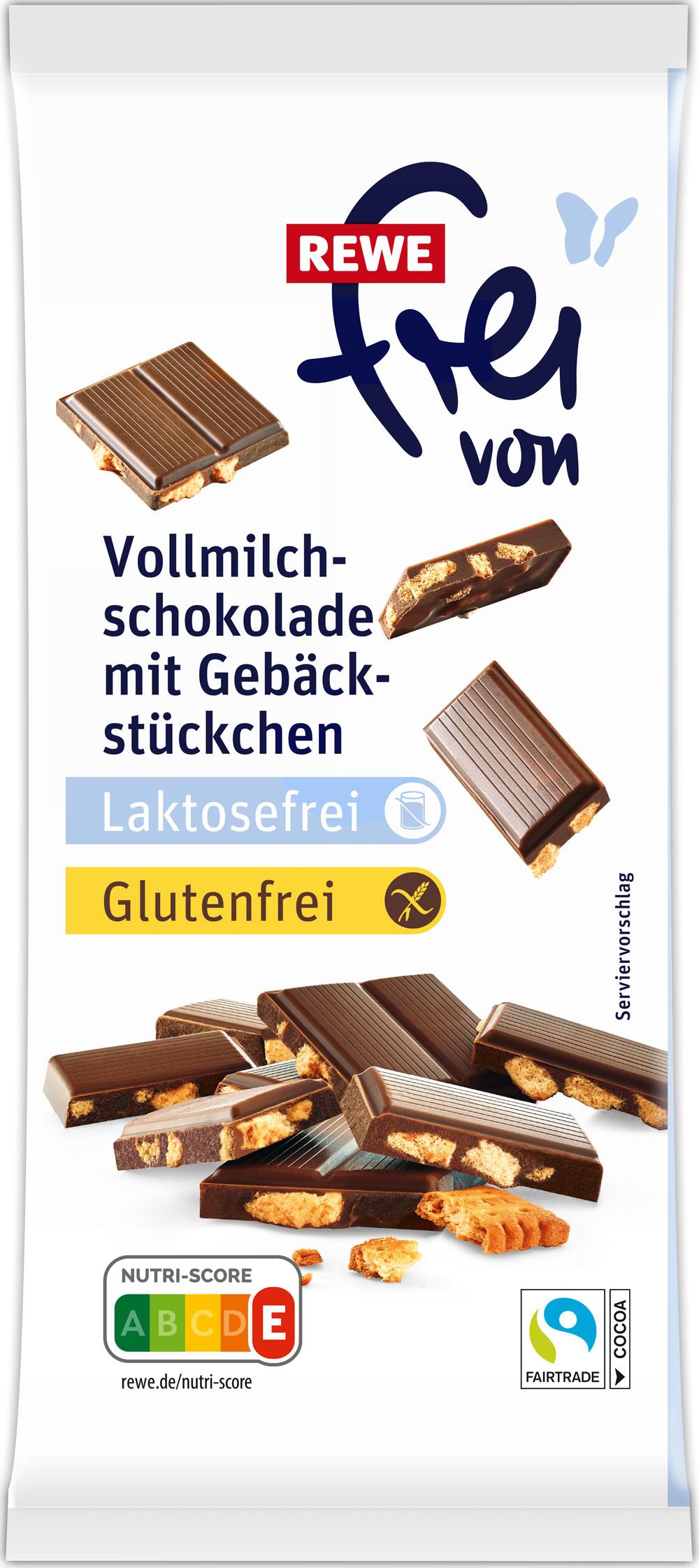 Laktosefreie Vollmilchschokolade mit Gebäckstückchen