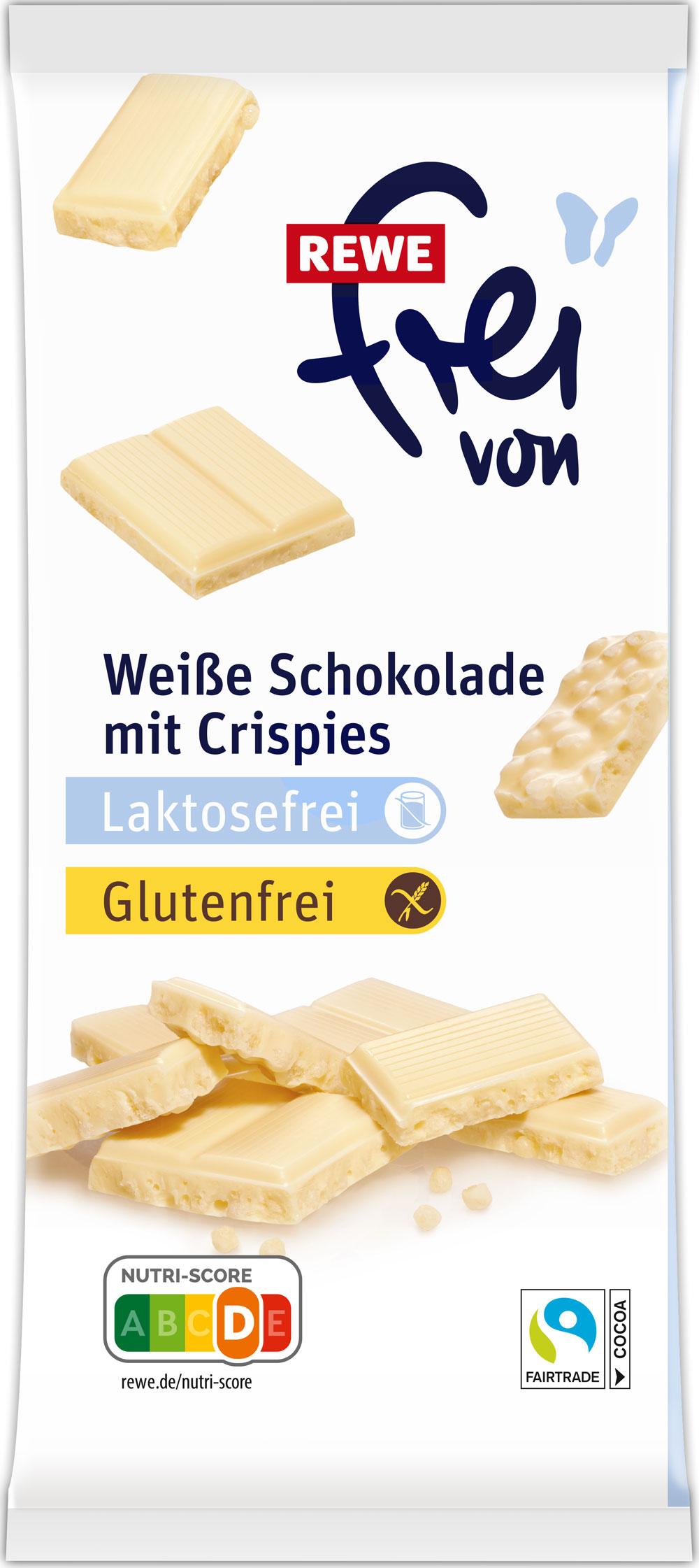 Laktosefreie Weiße Schokolade mit Crispies