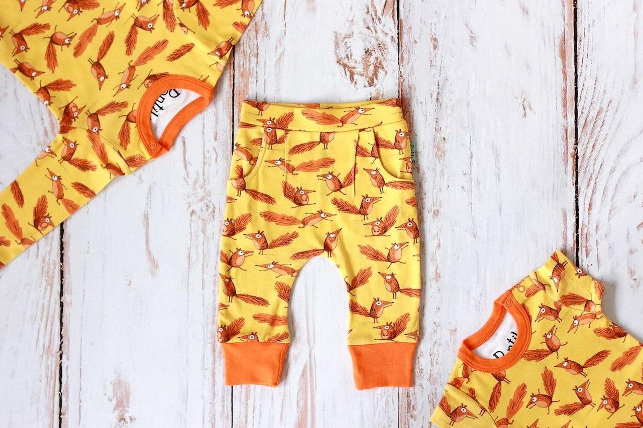 Zestaw Wiewiórki body krótki + długi rękaw + spodnie