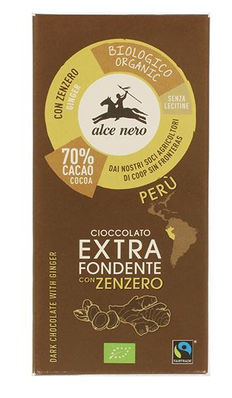 Alce Nero - Cioccolato fond zenzero BIO 50gr