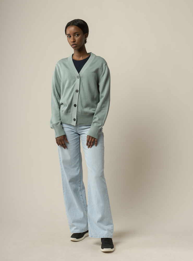 Damen Basic V-Neck Feinstrick Cardigan SURINA