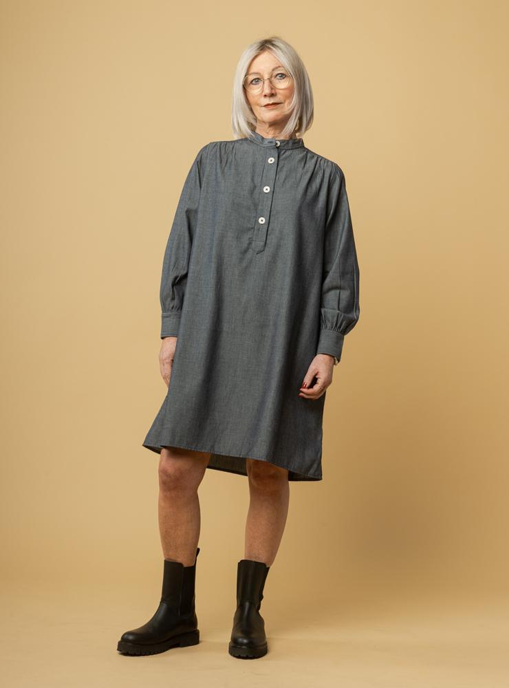 Damen Gerafftes Hemdkleid KASI