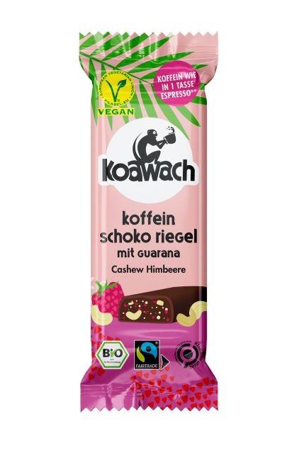 koawach Koffein Schoko Riegel Cashew Himbeere