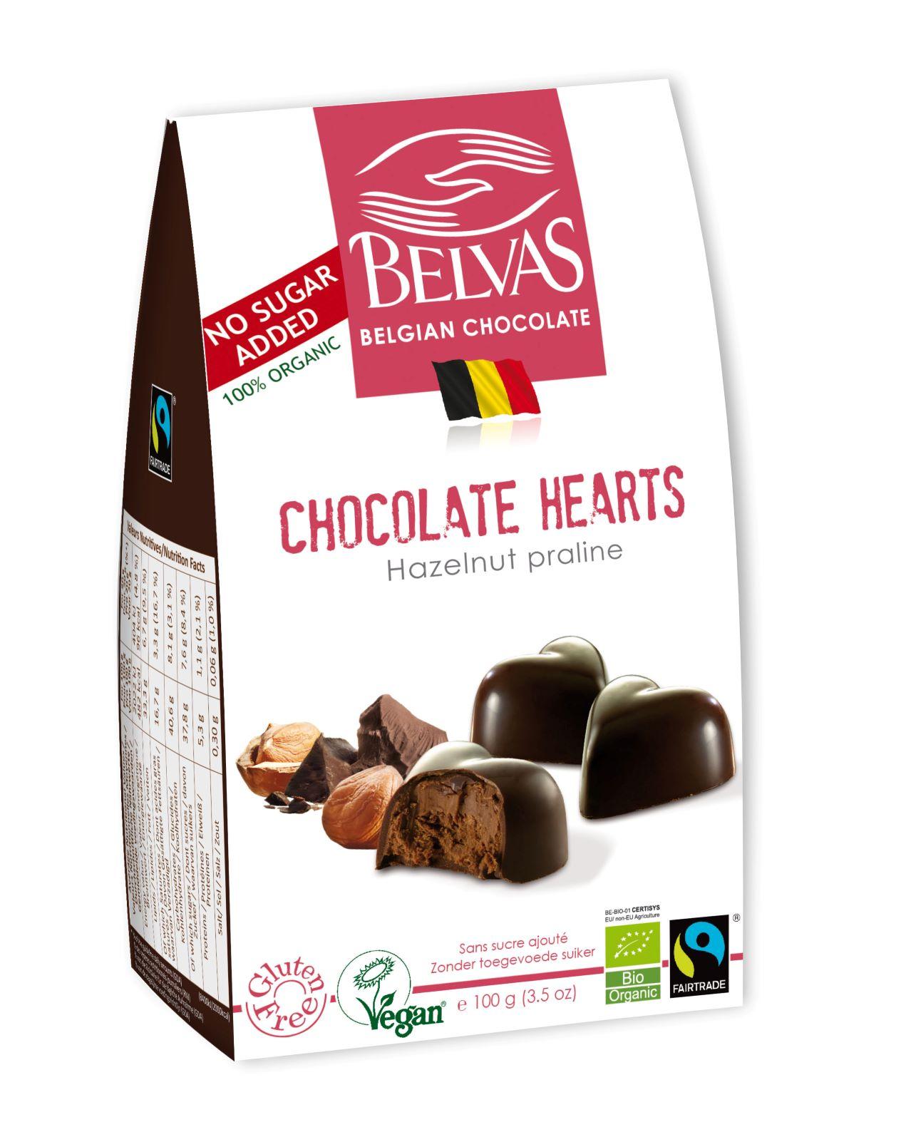 Belvas - Sans sucre ajouté - Coeurs cacao - 100 gr