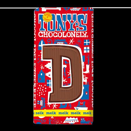 Melkchocolade letterreep D 32pct, 180gr FT, 15 stuks