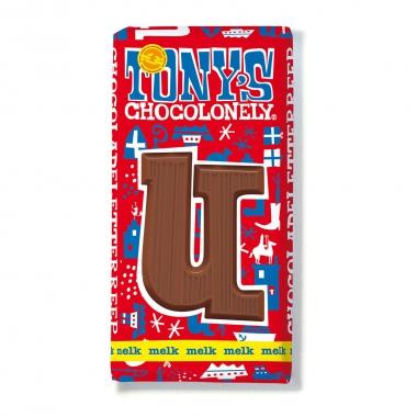 Melkchocolade letterreep U 32pct, 180gr FT, 15 stuks