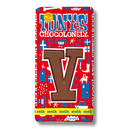 Melkchocolade letterreep V 32pct, 180gr FT, 15 stuks