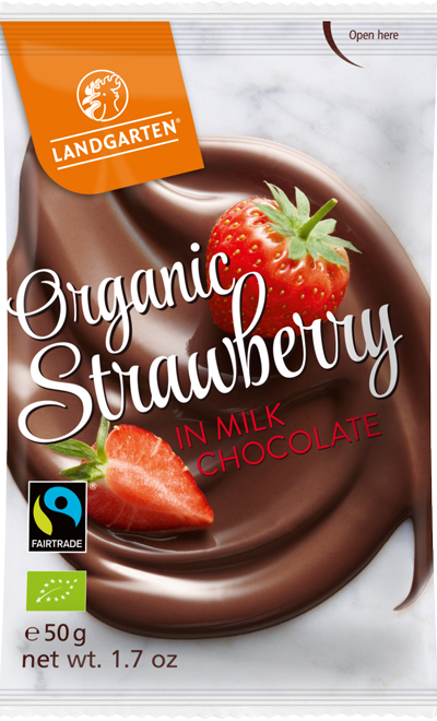 Organic FT Strawberries in Milk Chocolate 50g