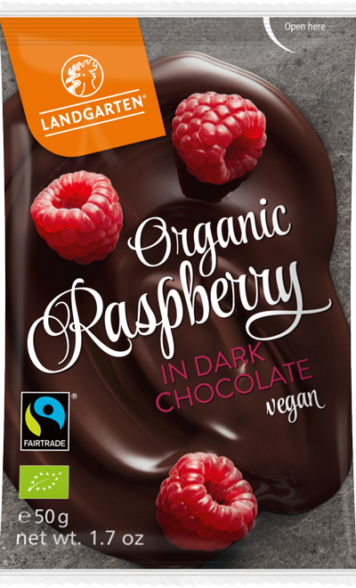 Organic FT Raspberries in Dark Chocolate 50g