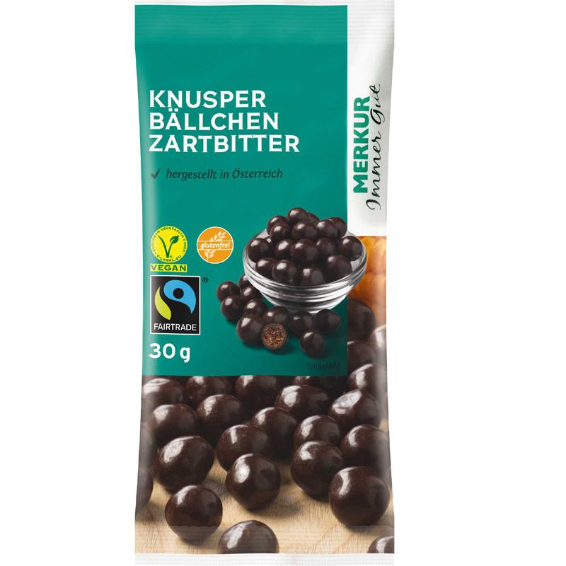 Knusperbällchen in Zartbitterschokolade