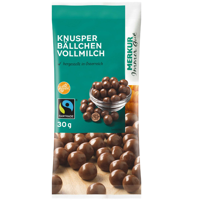 Knusperbällchen in Vollmilchschokolade
