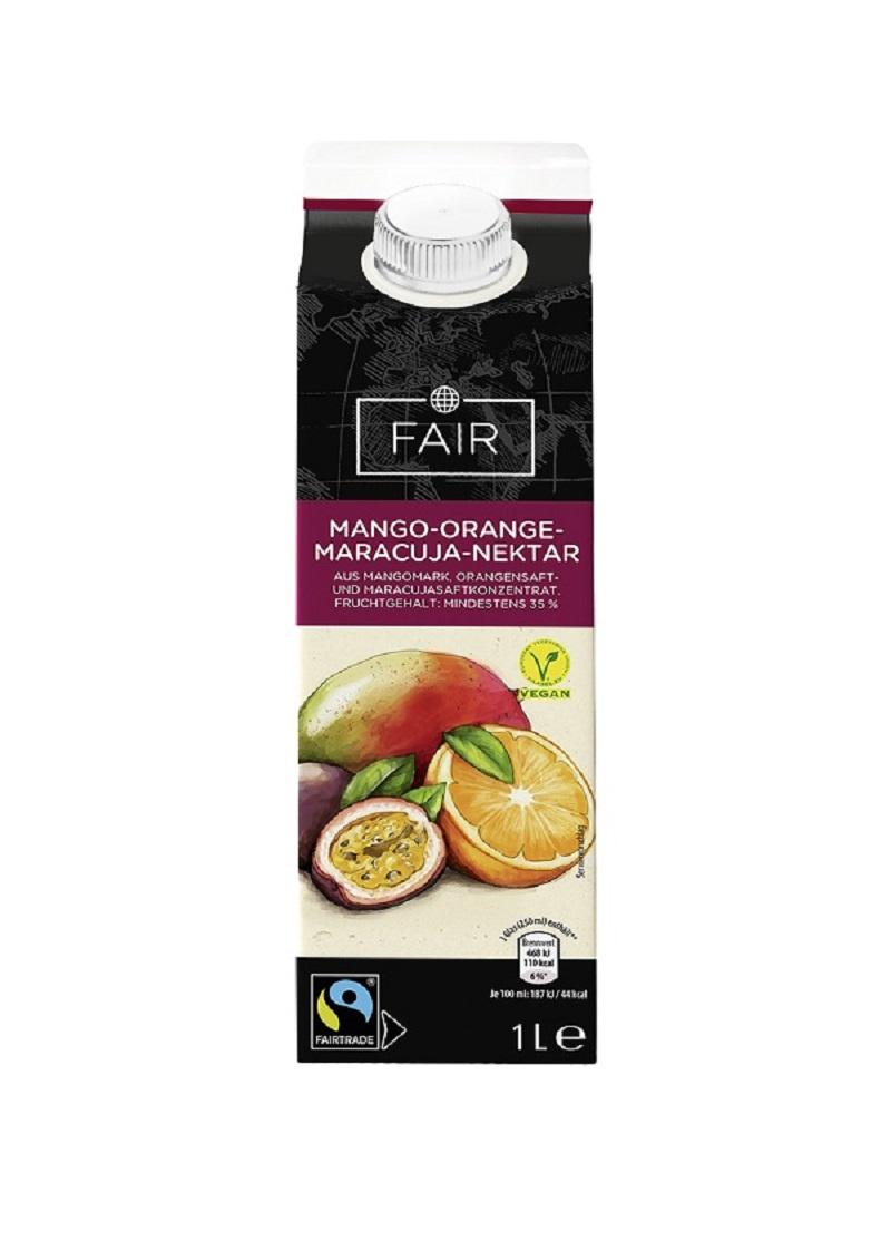 Fairtrade Saft-Nektar, Sorte: Mango-Orange-Maracuja-Nektar