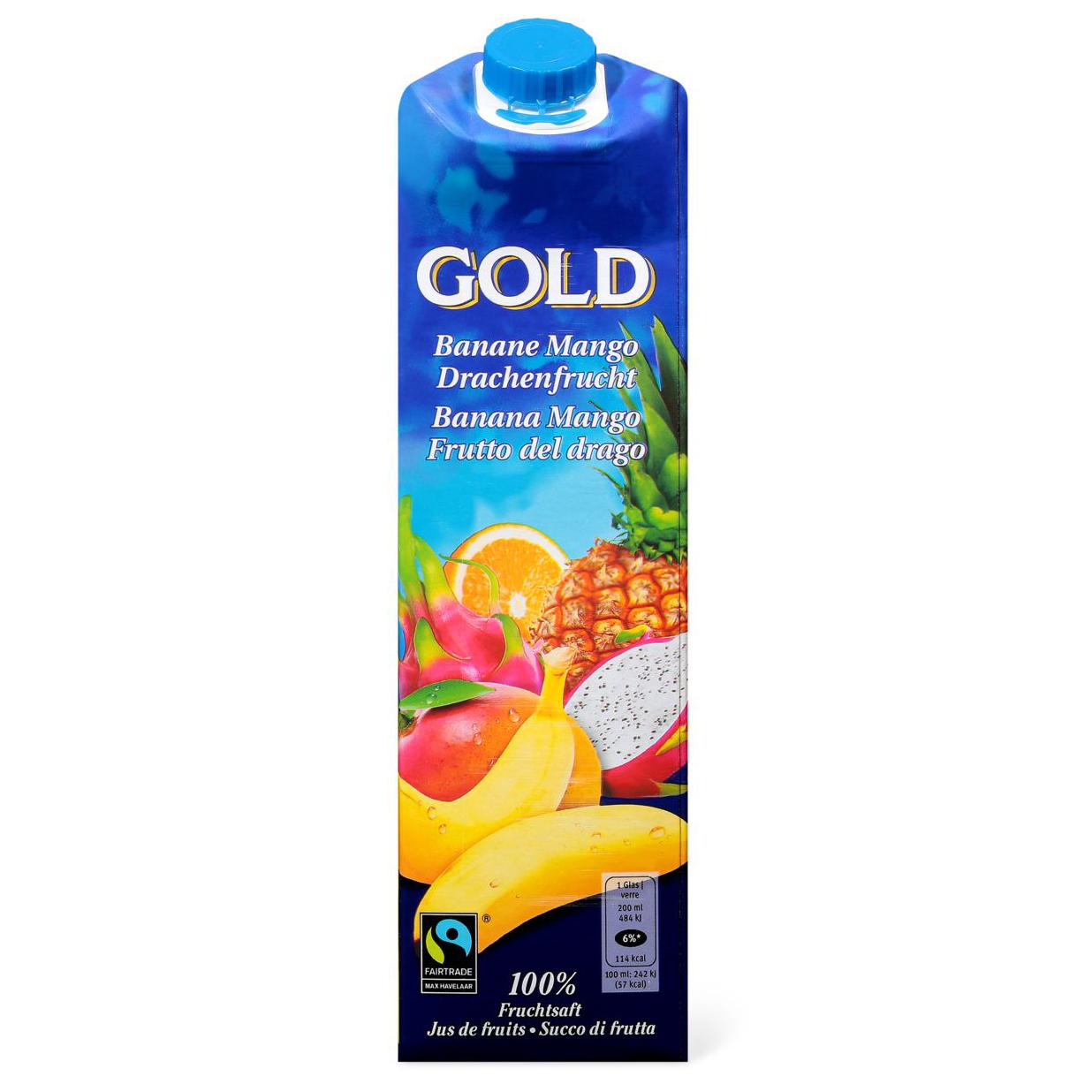 Banane-, Mango-, Drachenfruchtsaft