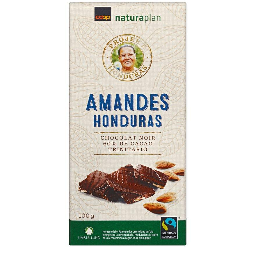 Tafelschokolade Honduras 60 Prozent Amandes