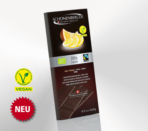 Tafelschokolade 70 Prozent Cacao, Citrus-Crisp (2x50g)