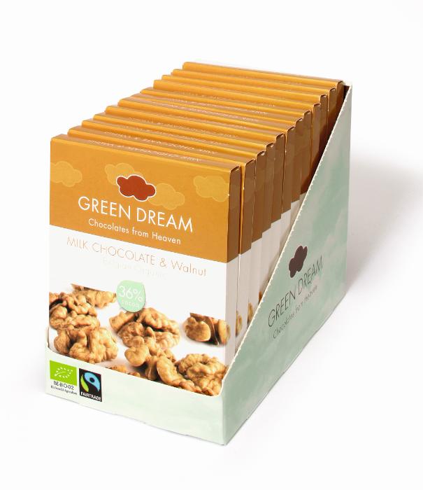Green Dream - Chocolat au lait et noix - 55 gr