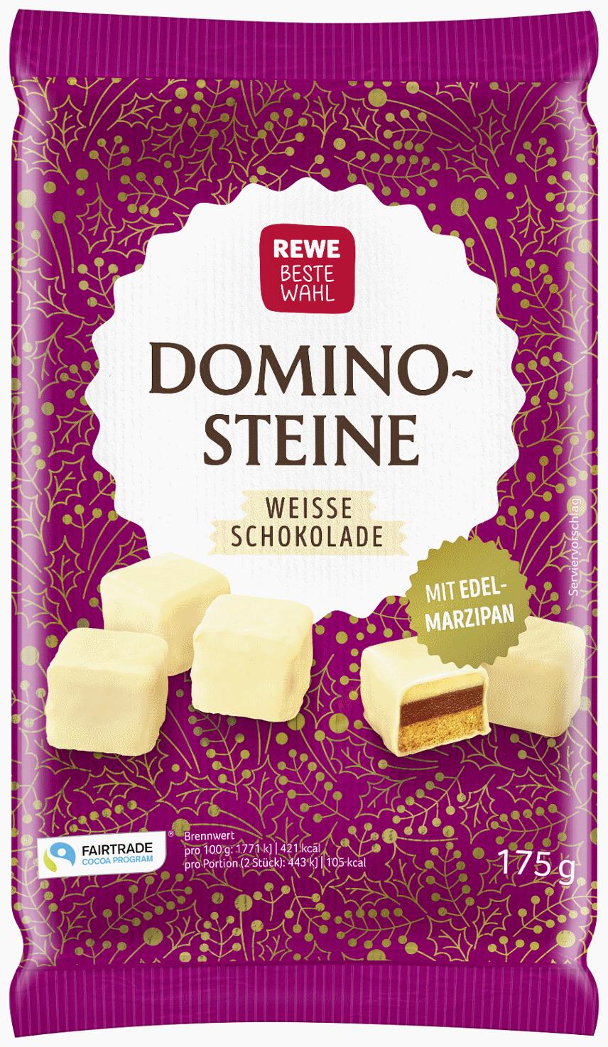 Edelmarzipan-Dominosteine mit 25 % weißer Schokolade