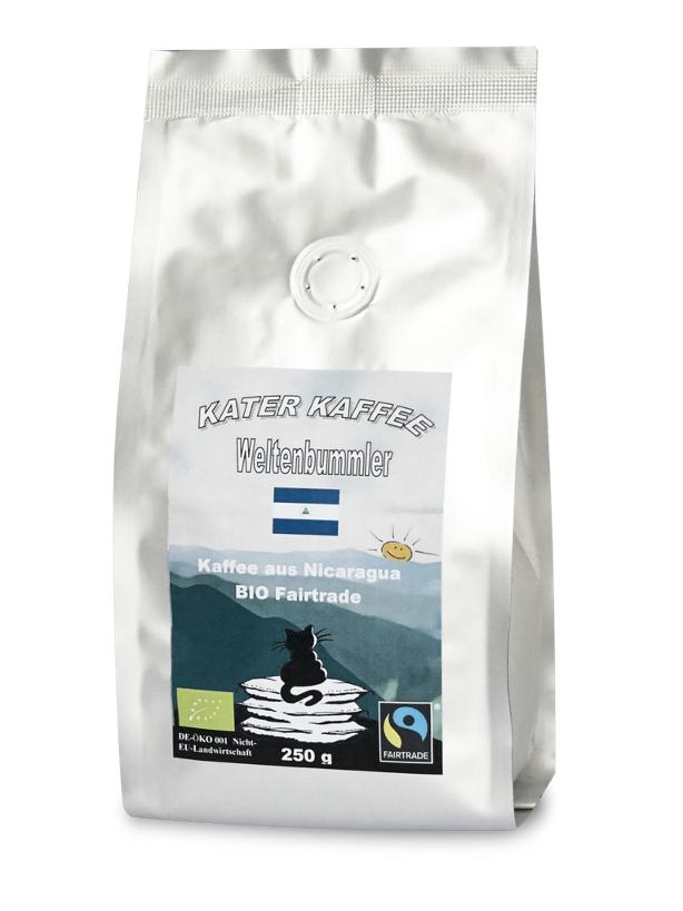 Kater Kaffee -  Weltenbummler Nicaragua Ganze Bohne 250 g