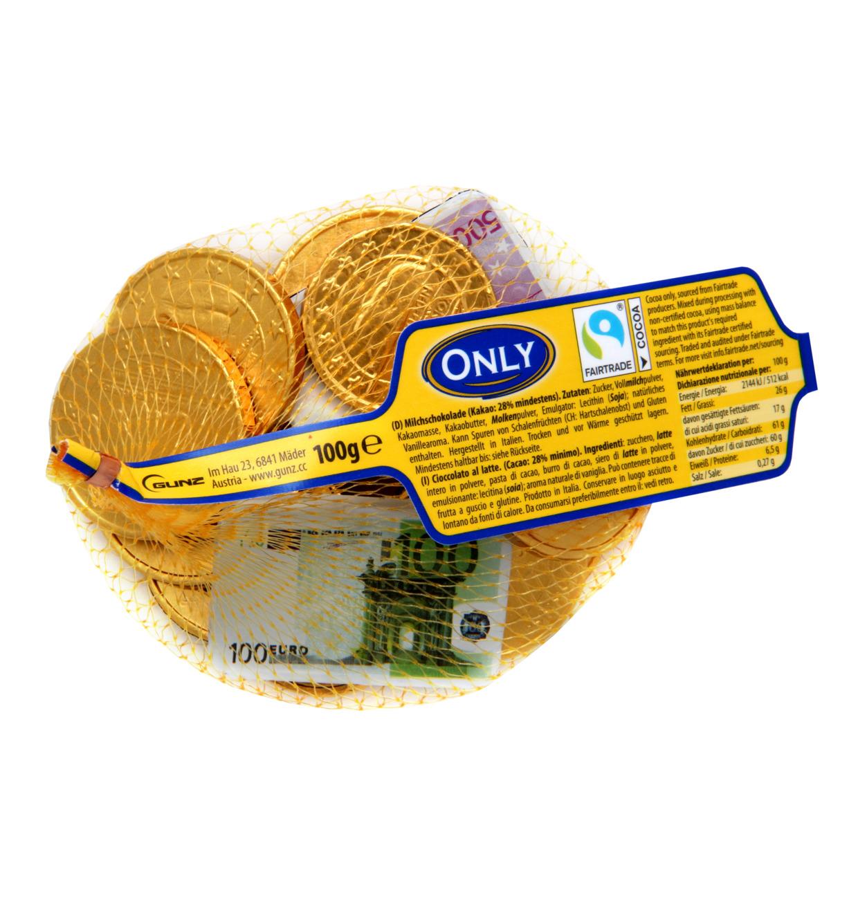 Banknoten und Goldmünzen Milchschokolade