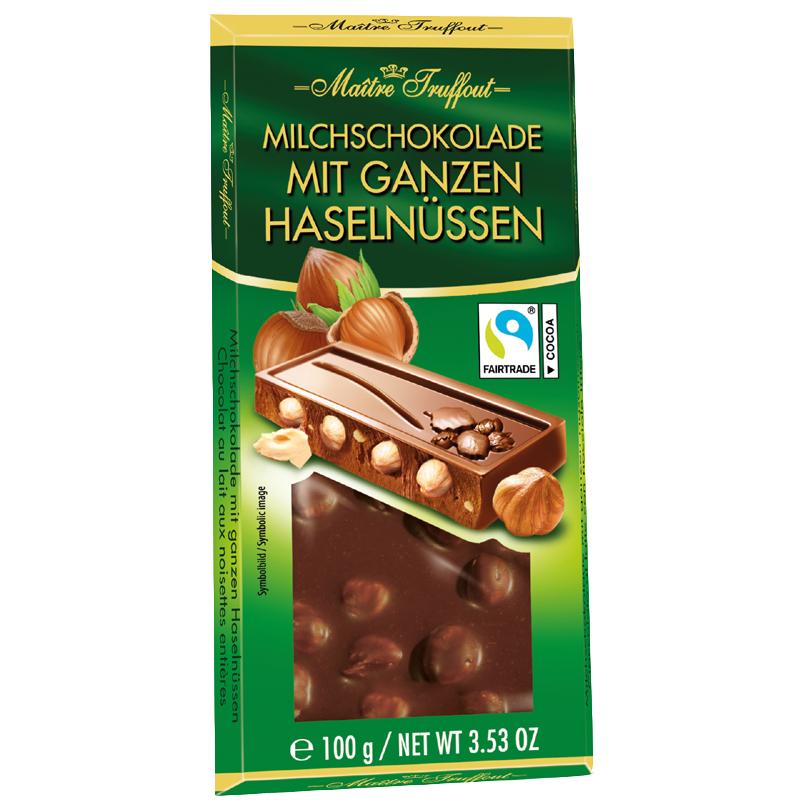 Milchschokolade mit ganzen Haselnüssen