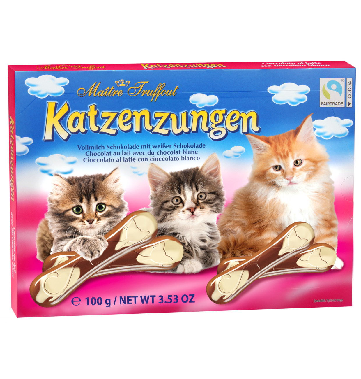 Vollmilch- & weiße Schokolade Katzenzungen
