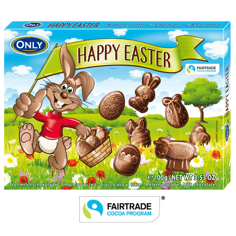 Vollmilchschokolade Happy Easter Figuren