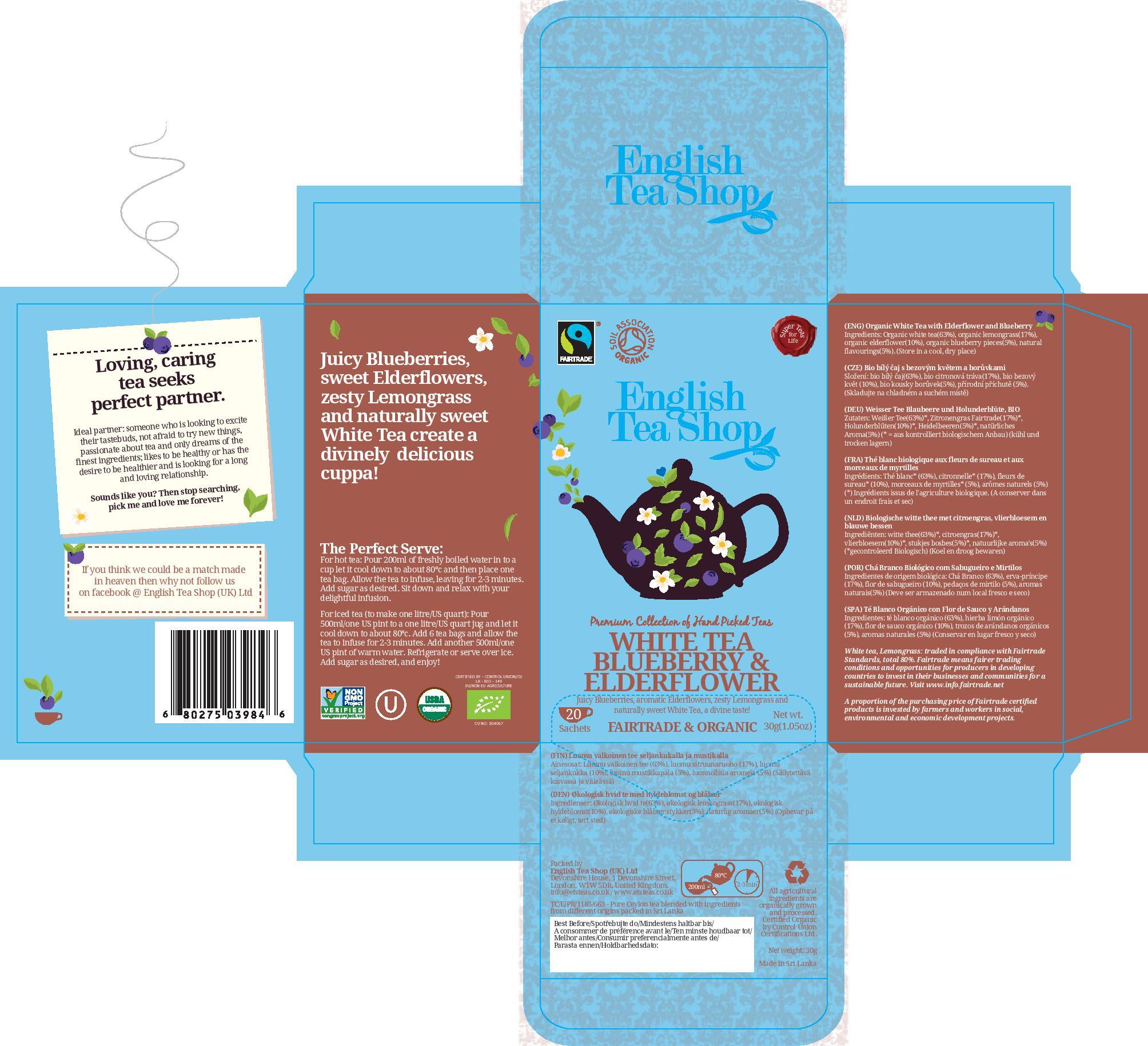 White Tea Blueberry & Elderflower - 20 sachets