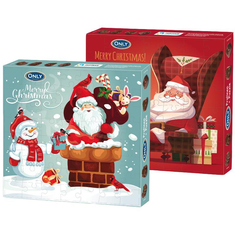 Weihnachten Pralinen mit Milchfüllung und Puzzle