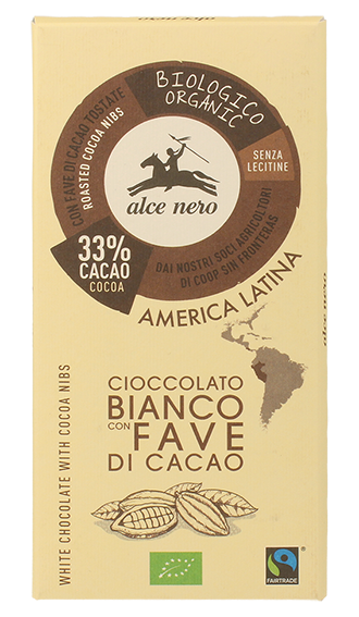 Alce Nero – Tav. cioccolato bianco con fave di cacao – 100 gr