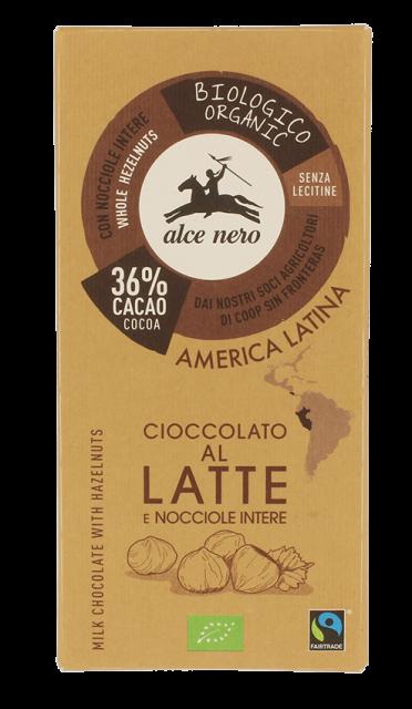 Alce Nero – Cioccolato al latte nocciole – BIO – 100 gr