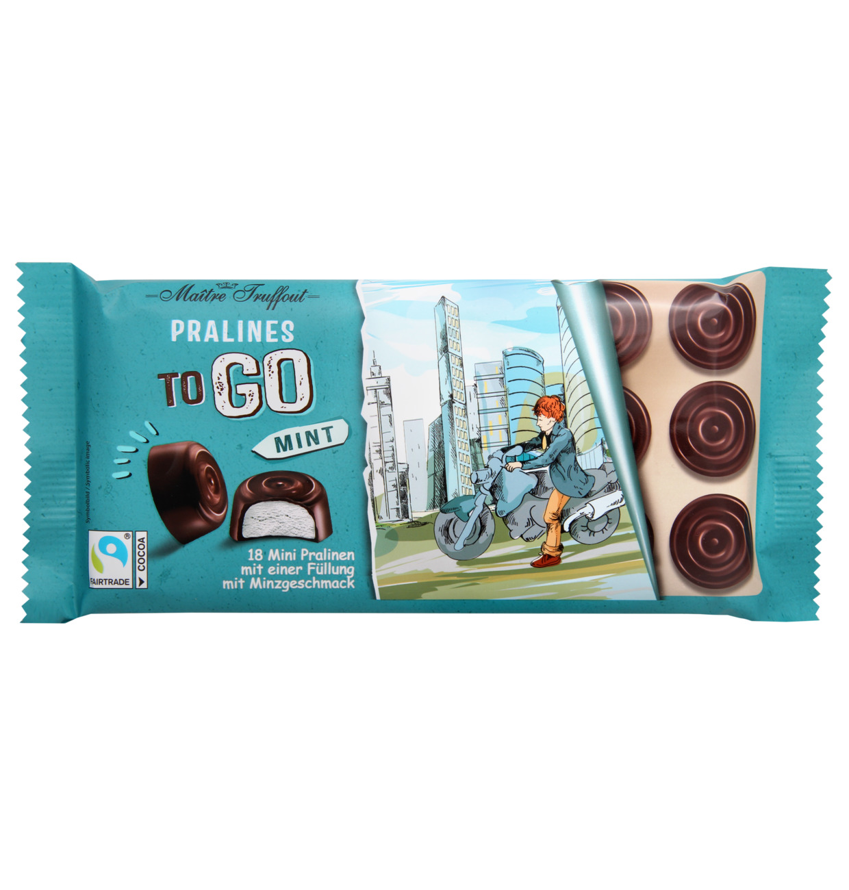 Pralinen TO GO Zartbitterschokolade mit Mintfüllung