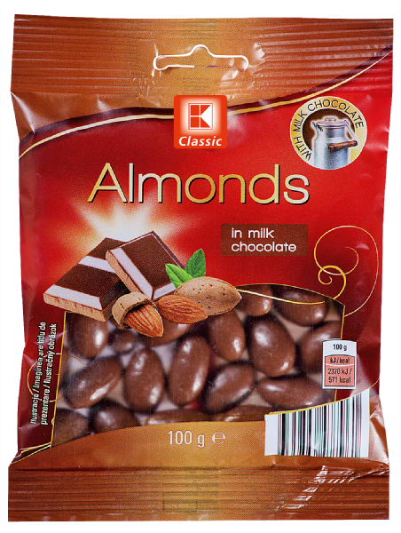 Almonds in whole milk chocolate
