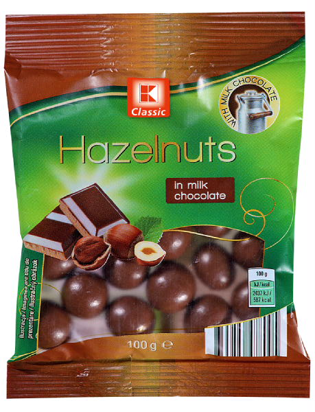 Hazelnuts in whole milk chocolate