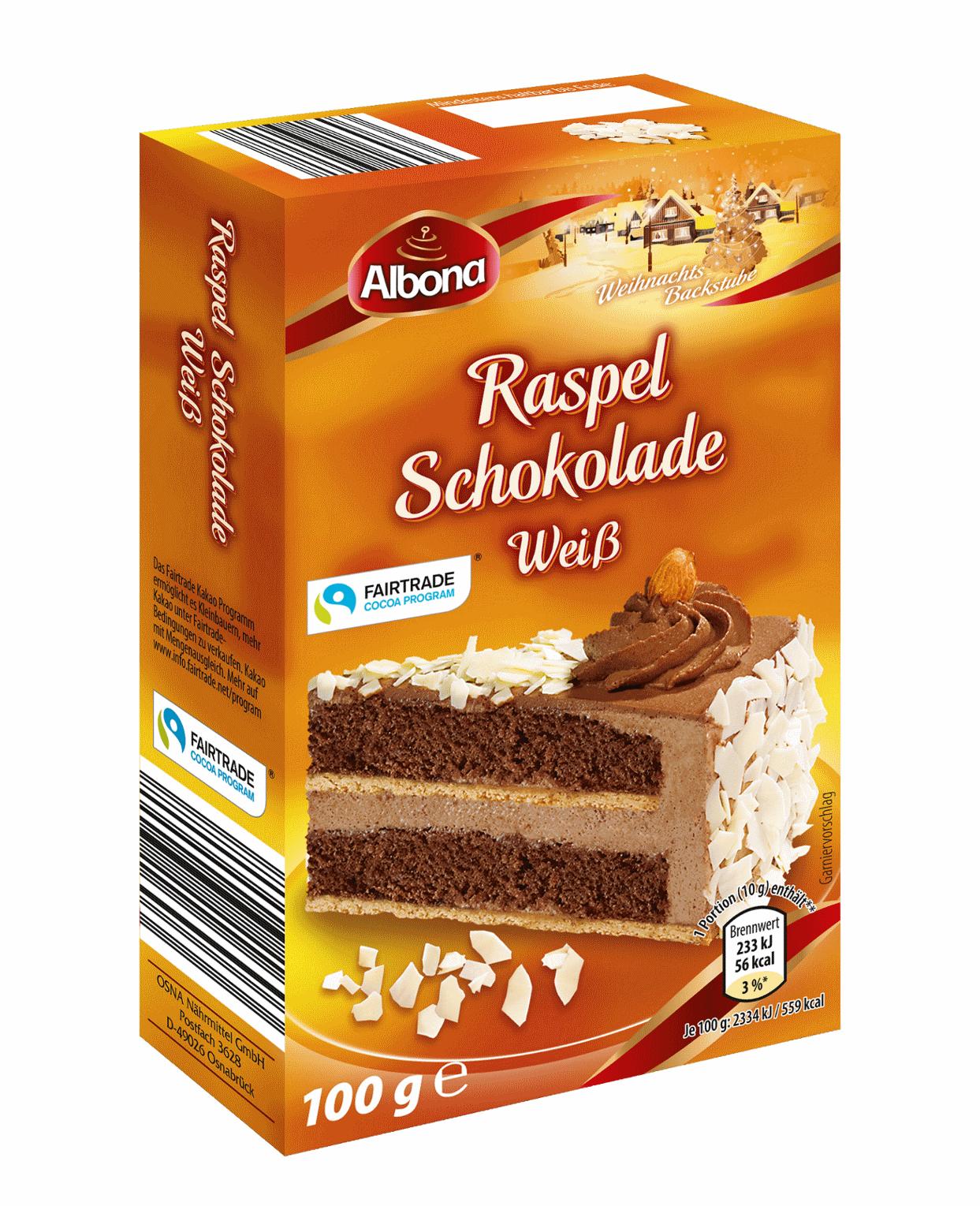 Backshop-Sortiment Raspelschokolade Weiß